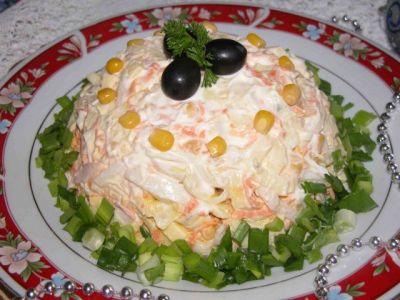вкусный и простой рецепт салат с кальмарами