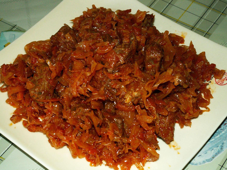 тушёная капуста с мясом рецепт с фото на сковороде
