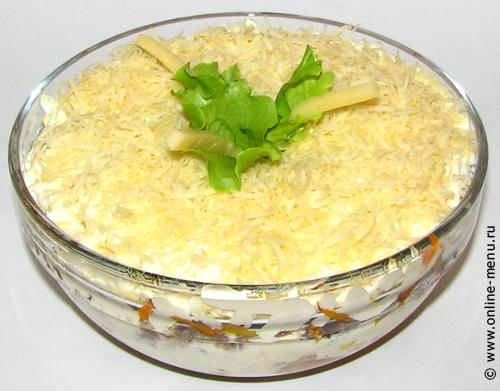 Рыбный салат с грибами рецепт