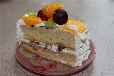 Фруктовый торт «Афродита» с орехами и шоколадом