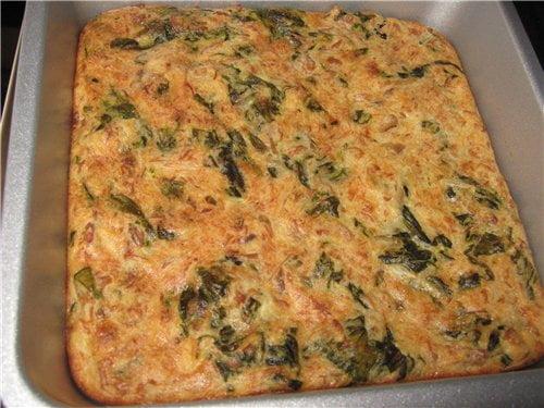 Пирог из шпината с лососем