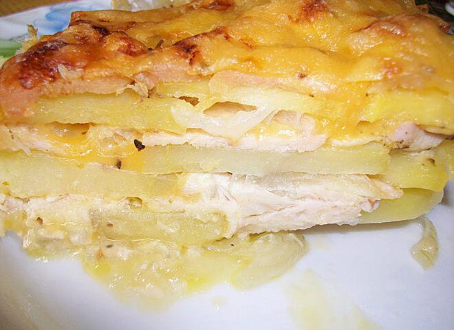 Запеканка с курицей и сыром