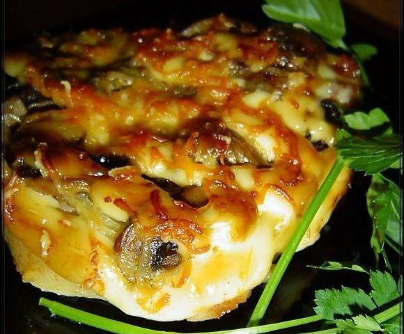 Отбивные, запеченные с грибами