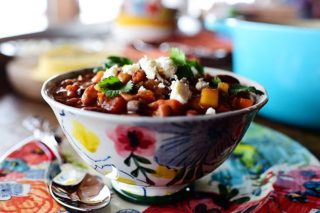 Вегетарианский фасолевый суп с чили