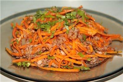 Салат из моркови и говядины