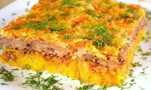 Запеканка из риса и мяса